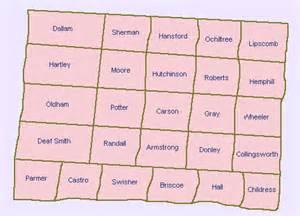counties in the panhandle region of 1800 ustravel