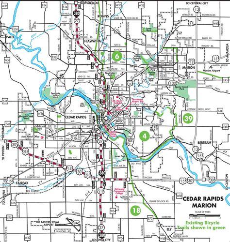 map of cedar rapids iowa cedar rapids bike and map maplets