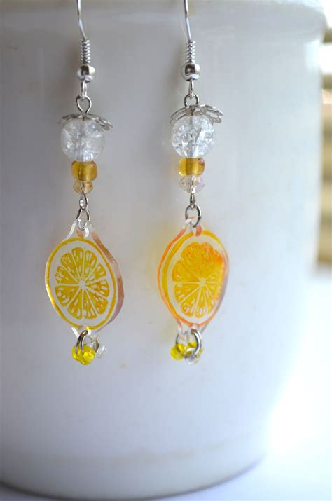Lemon Earring sliced lemon earrings スライスレモンピアス by nanaakua shrink