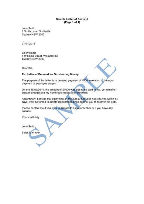 Demand Letter Lawyer Sle Letter Of Demand For Payment Template Letter Of Demand Sle Lawpath
