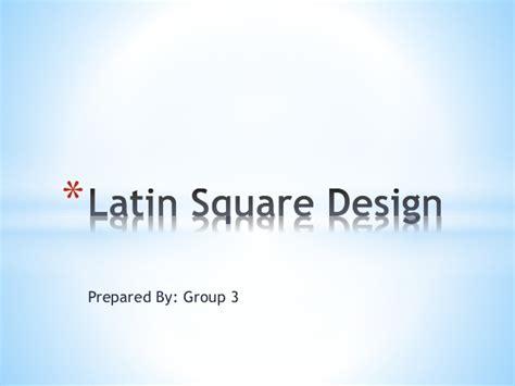 latin square experimental design latin square design