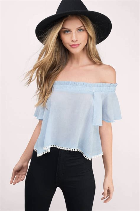 Blue Top light blue top shoulder top periwinkle top 8