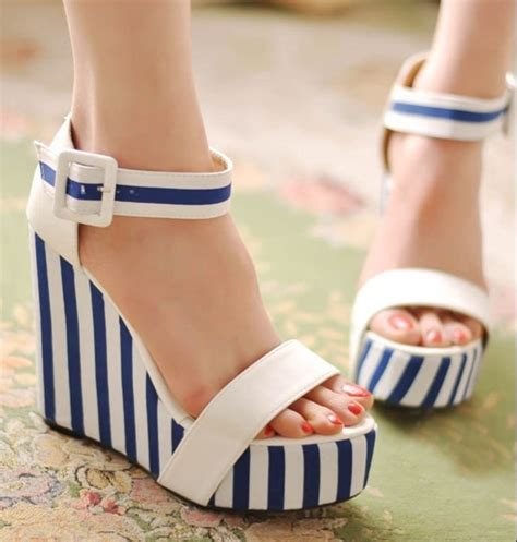 Wedges Slope Stripe Df5404 1000 images about sandals for cheap on sale on low heel sandals s