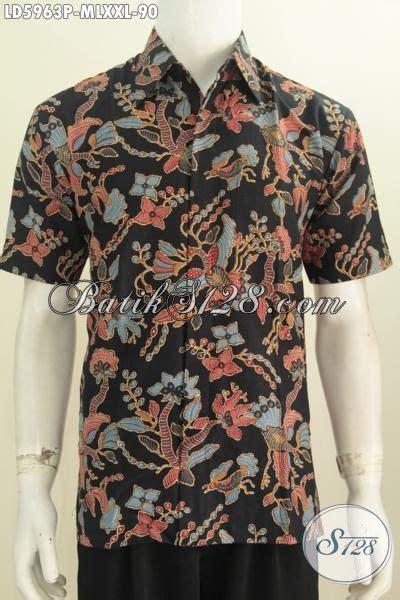 Baju Imlek Pria Dewasa baju batik trendy anak muda dan pria dewasa hem batik lengan pendek modis dasar hitam proses