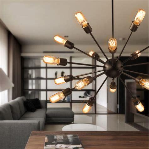 mid century black sputnik chandelier  arms modern