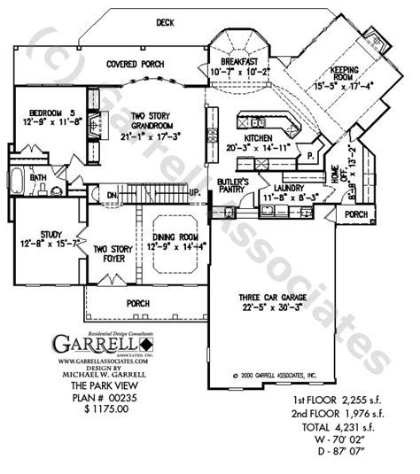 floor plan view park view house plan colonial house plans