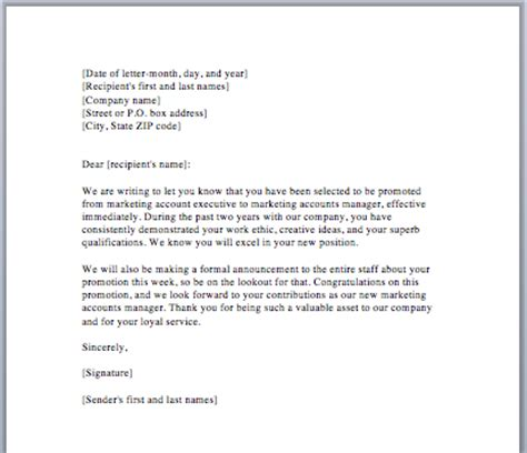 Promotion Letter Exle How To Write Application Letter For Promotion