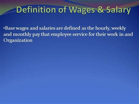 Definition Of Wages Salary Authorstream