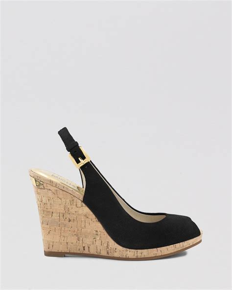 Wedges Sleting Black michael michael kors peep toe platform wedge sandals keegan slingback in black lyst