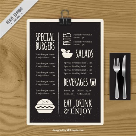 special menu template in blackboard vector free download