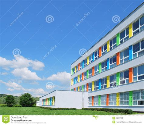 Classical House Plans exterior of a modern school stock photo image 14676790