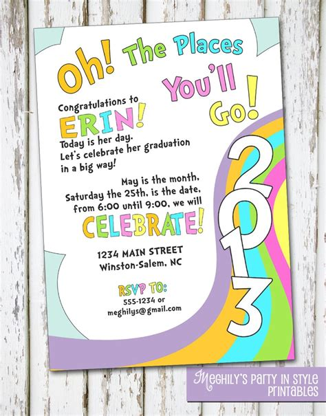Oh The Places You Ll Go Graduation Invitation Template oh the places you ll go graduation invitation