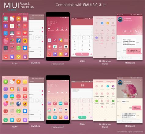theme miui for huawei rose and pink blush miui themes for emui by duophased on