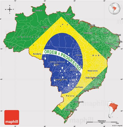 map of brasil flag simple map of brazil
