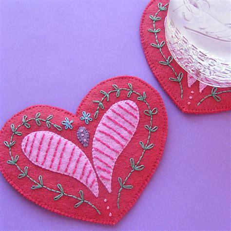 pretty heart coasters a felt heart pattern shiny happy