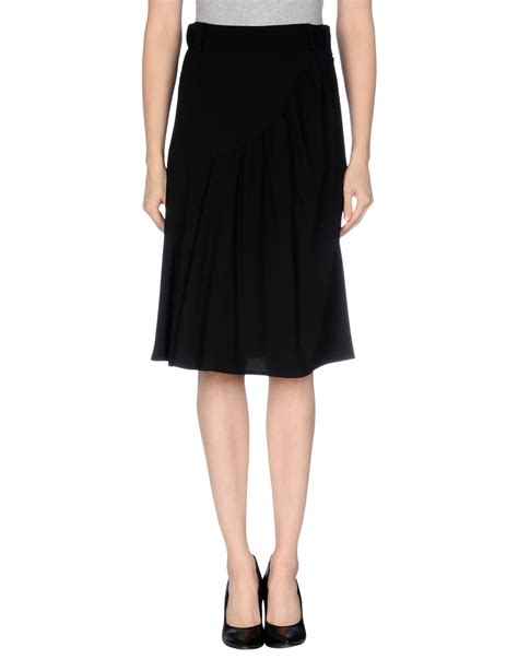 prada knee length skirt in black lyst