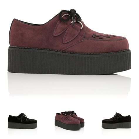 new womens flat creeper sneaker lace up platform shoes