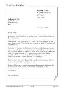 formal letter of complaint letter writing home page