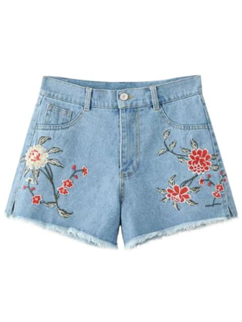 High Waist Embroidered Shorts high waisted embroidered denim shorts light blue shorts s