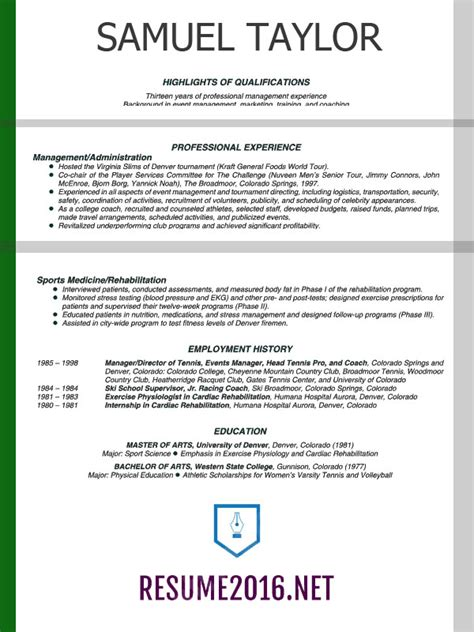 Sample CV Resume 2016   Experience Resumes
