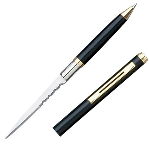 knife pen black ink pen knife letter opener with partially serrated edge