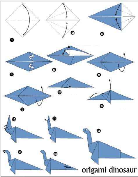 Simple Origami For Beginners - origami dinosaur diagrams cards origami