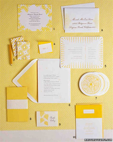 wedding invitation yellow motif wedding colors yellow and white martha stewart weddings