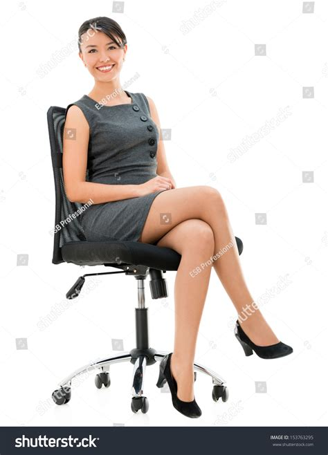 White Sitting Chair by Happy Business Sitting On Chair Stock Photo