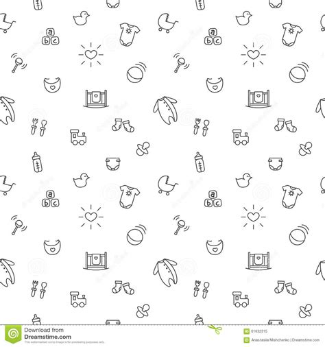 black and white pattern for babies vector baby or pregnancy seamless pattern newborn stock