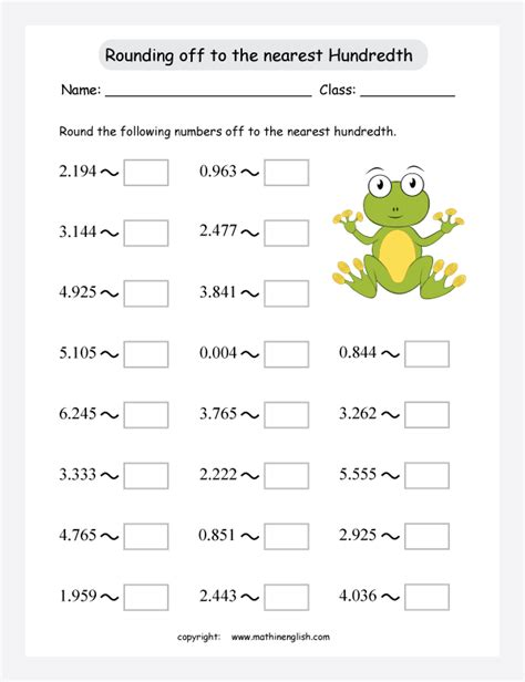 math rounding worksheets these numbers to the nearest hundredth