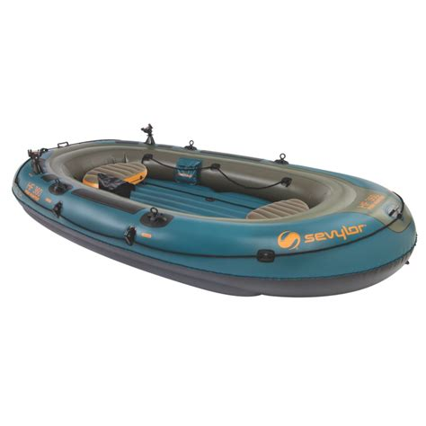 sevylor inflatable fishing boat fish hunter 360 6 person fishing boat with berkley 174 rod