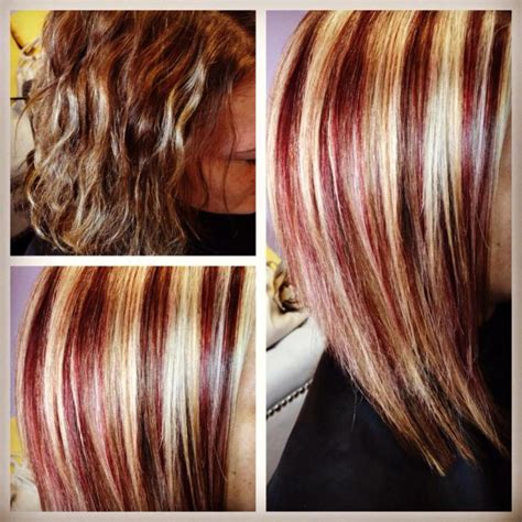 hairstyles blonde with red streaks before after i gave her red blonde highlights hair