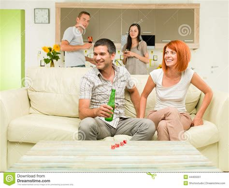 couch party friends party at home stock photo image 44455551