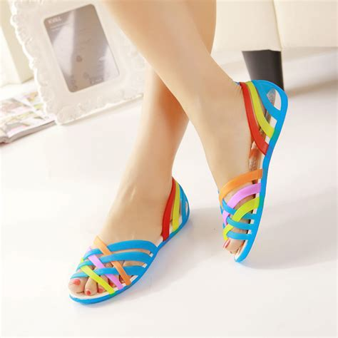colorful flat shoes 2014 shoes s colorful open toe sandals