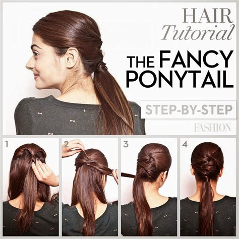 step by step pictorial tutorials of different style puff prom hair tutorial fancy ponytail for long hair hair