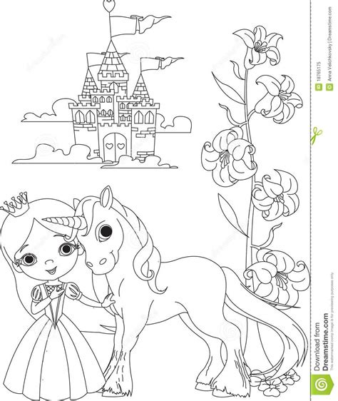 Beautiful Princess And Unicorn Coloring Page Stock Vector Unicorn And Princess Coloring Pages Free Coloring Sheets