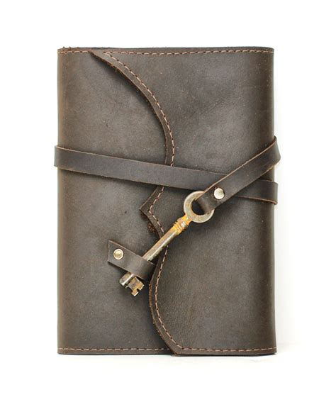 refillable leather journals nottinghill refillable leather journal with antique key chocolate brown divina denuevo