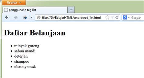 membuat ul html belajar html dasar cara membuat daftar list di html tag