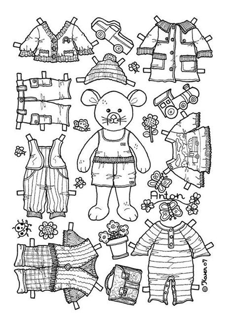 coloring page paper doll boy bear mouse paper doll coloring page coloring pages