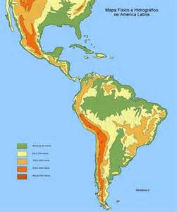 physical map of central and south america physical map of south america and central america