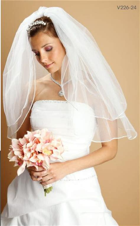lovely veil 226 227 rounded satin corded edge veil 2 layers