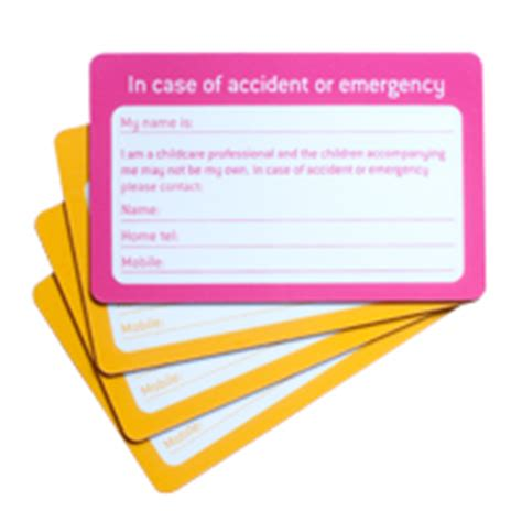emergency contact card template uk forms diagrams pacey