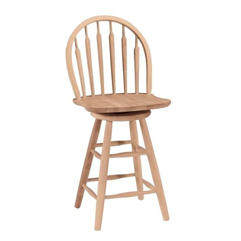 Unfinished Wood Bar Stool International Concepts 24 In Unfinished Wood Swivel Bar Stool S 612 The Home Depot
