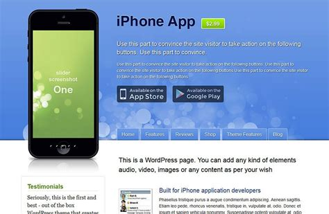 App For Themes On Iphone | iphone app showcase wordpress theme free download