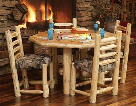 octagon cedar log rec table rustic furniture mall