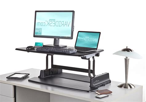 pneumatic sit stand adjustable computer desk review and