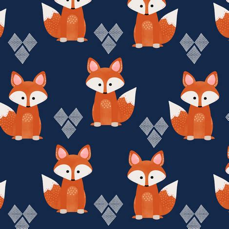 watercolor fox pattern watercolor foxes in navy fabric natitys spoonflower