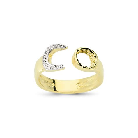 9ct yellow gold gents cz spanner ring sks jewellers