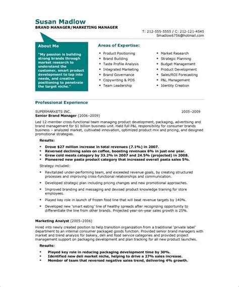 resume about me exles 20 best images about marketing resume sles on
