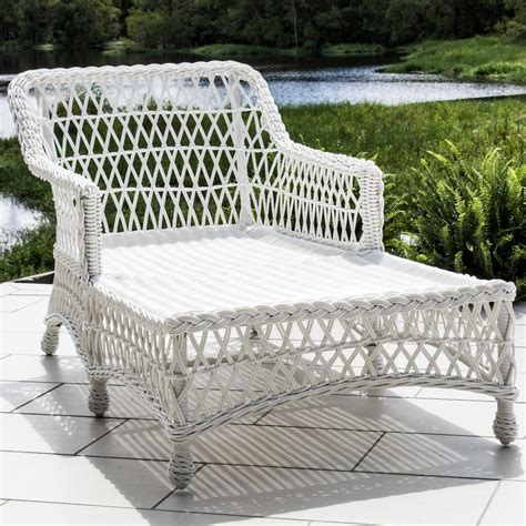 white wicker chaise lounge everglades white resin wicker patio chaise lounge by